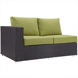 Convene Outdoor Patio Left Arm Loveseat in Espresso Peridot