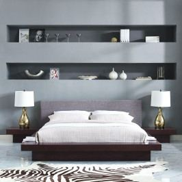 Freja 3 Piece Queen Fabric Bedroom Set in Cappuccino Gray