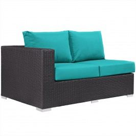 Convene Outdoor Patio Left Arm Loveseat in Espresso Turquoise