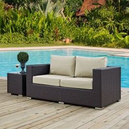 Convene Outdoor Patio Loveseat in Espresso Beige