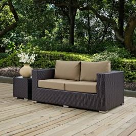 Convene Outdoor Patio Loveseat in Espresso Mocha