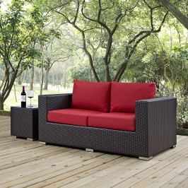 Convene Outdoor Patio Loveseat in Espresso Red