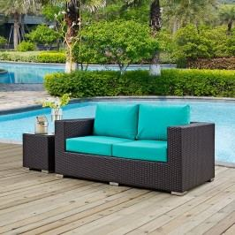 Convene Outdoor Patio Loveseat in Espresso Turquoise
