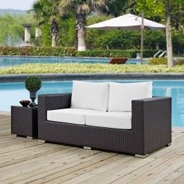 Convene Outdoor Patio Loveseat in Espresso White