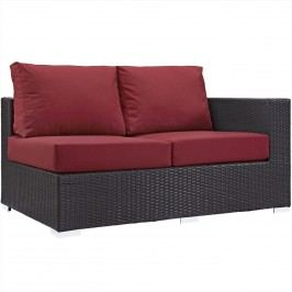 Convene Outdoor Patio Right Arm Loveseat in Espresso Red