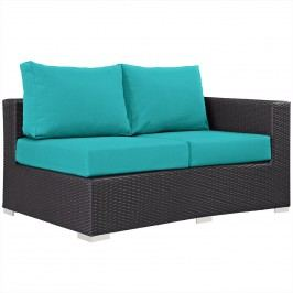 Convene Outdoor Patio Right Arm Loveseat in Espresso Turquoise