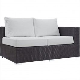 Convene Outdoor Patio Right Arm Loveseat in Espresso White