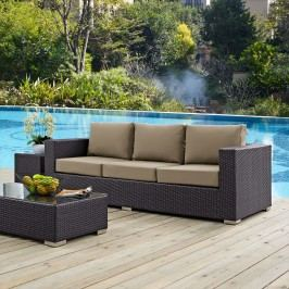 Convene Outdoor Patio Sofa in Espresso Mocha