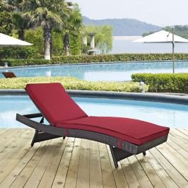 Peer Outdoor Patio Chaise in Espresso Red