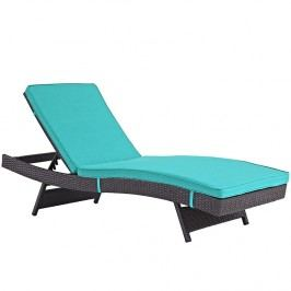 Peer Outdoor Patio Chaise in Espresso Turquoise