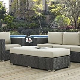 Sojourn Outdoor Patio Fabric Sunbrella?? Rectangle Ottoman in Canvas Antique Beige