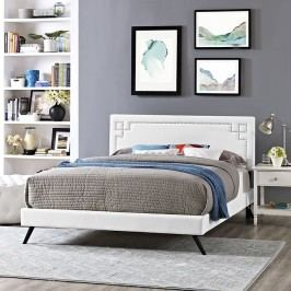 Josie Queen Vinyl Platform Bed with Round Splayed Legs in White
