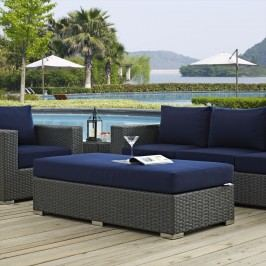 Sojourn Outdoor Patio Fabric Sunbrella?? Rectangle Ottoman in Canvas Navy