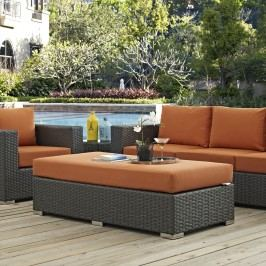 Sojourn Outdoor Patio Fabric Sunbrella?? Rectangle Ottoman in Canvas Tuscan