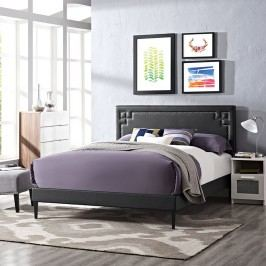 Josie Queen Vinyl Platform Bed with Round Tapered Legs in Black