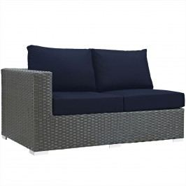 Sojourn Outdoor Patio Sunbrella?? Left Arm Loveseat in Canvas Navy