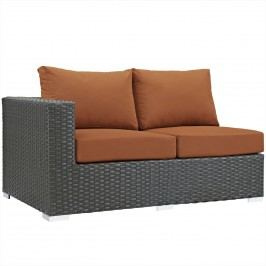 Sojourn Outdoor Patio Sunbrella?? Left Arm Loveseat in Canvas Tuscan