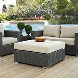 Sojourn Outdoor Patio Sunbrella?? Square Ottoman in Canvas Antique Beige