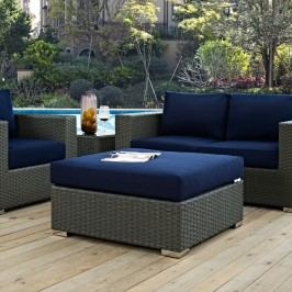 Sojourn Outdoor Patio Sunbrella?? Square Ottoman in Canvas Navy