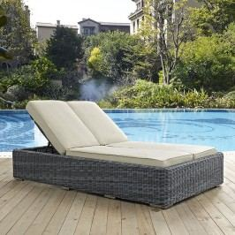 Summon Double Outdoor Patio Sunbrella?? Chaise in Beige