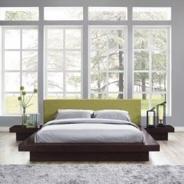 Freja 3 Piece Queen Fabric Bedroom Set in Cappuccino Green
