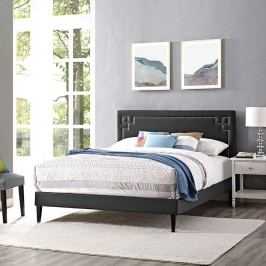 Josie Queen Vinyl Platform Bed with Squared Tapered Legs in Black