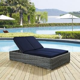 Summon Double Outdoor Patio Sunbrella?? Chaise in Navy