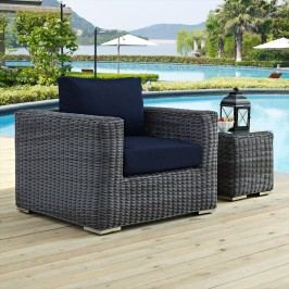Summon Outdoor Patio Fabric Sunbrella?? Armchair in Canvas Navy