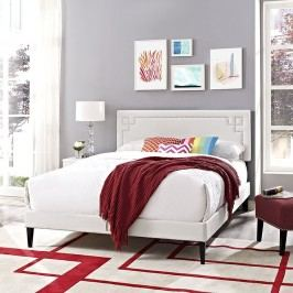 Josie Queen Vinyl Platform Bed with Squared Tapered Legs in White