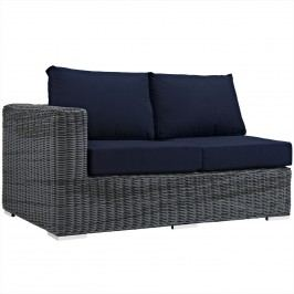 Summon Outdoor Patio Sunbrella?? Left Arm Loveseat in Canvas Navy