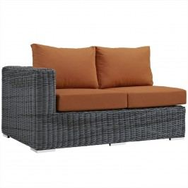 Summon Outdoor Patio Sunbrella?? Left Arm Loveseat in Canvas Tuscan