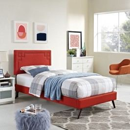 Josie  Twin Fabric Platform Bed with Round Splayed Legs in Atomic Red