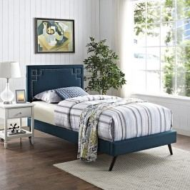 Josie  Twin Fabric Platform Bed with Round Splayed Legs in Azure