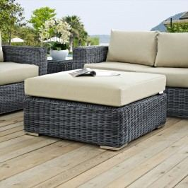 Summon Outdoor Patio Sunbrella?? Square Ottoman in Canvas Antique Beige