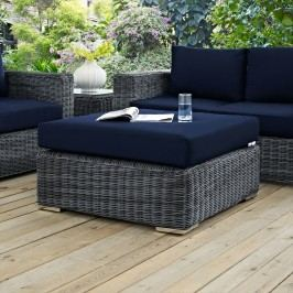 Summon Outdoor Patio Sunbrella?? Square Ottoman in Canvas Navy