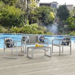 Embark Outdoor Patio Aluminum Patio Sectional Set with Pillow Set in Silver Chocolate