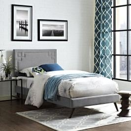 Josie  Twin Fabric Platform Bed with Round Splayed Legs in Light Gray