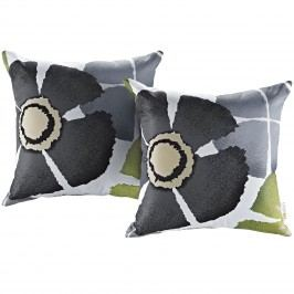 Modway Two Piece Outdoor Patio Pillow Set in Botanical