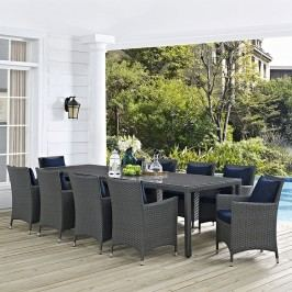 Sojourn 11 Piece Outdoor Patio Sunbrella?? Dining Set in Canvas Navy