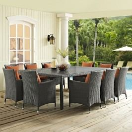Sojourn 11 Piece Outdoor Patio Sunbrella?? Dining Set in Canvas Tuscan