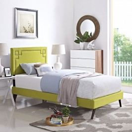 Josie  Twin Fabric Platform Bed with Round Splayed Legs in Wheatgrass