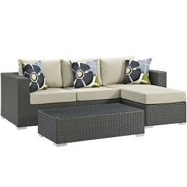 Sojourn 3 Piece Outdoor Patio Sunbrella?? Sectional Set in Canvas Antique Beige