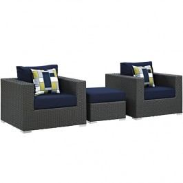 Sojourn 3 Piece Outdoor Patio Sunbrella?? Sectional Set in Canvas Navy
