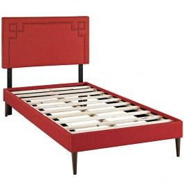 Josie  Twin Fabric Platform Bed with Round Tapered Legs in Atomic Red