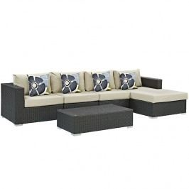 Sojourn 5 Piece Outdoor Patio Sunbrella?? Sectional Set in Canvas Antique Beige