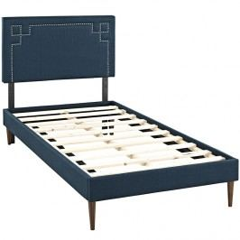 Josie  Twin Fabric Platform Bed with Round Tapered Legs in Azure