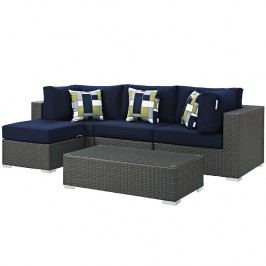 Sojourn 5 Piece Outdoor Patio Sunbrella?? Sectional Set in Canvas Navy