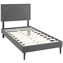 Josie  Twin Fabric Platform Bed with Round Tapered Legs in Gray