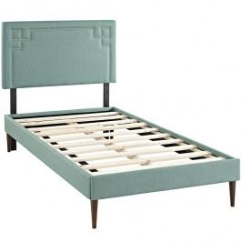 Josie  Twin Fabric Platform Bed with Round Tapered Legs in Laguna
