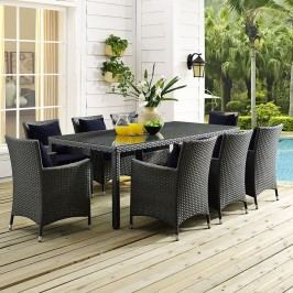 Sojourn 9 Piece Outdoor Patio Sunbrella?? Dining Set in Canvas Navy